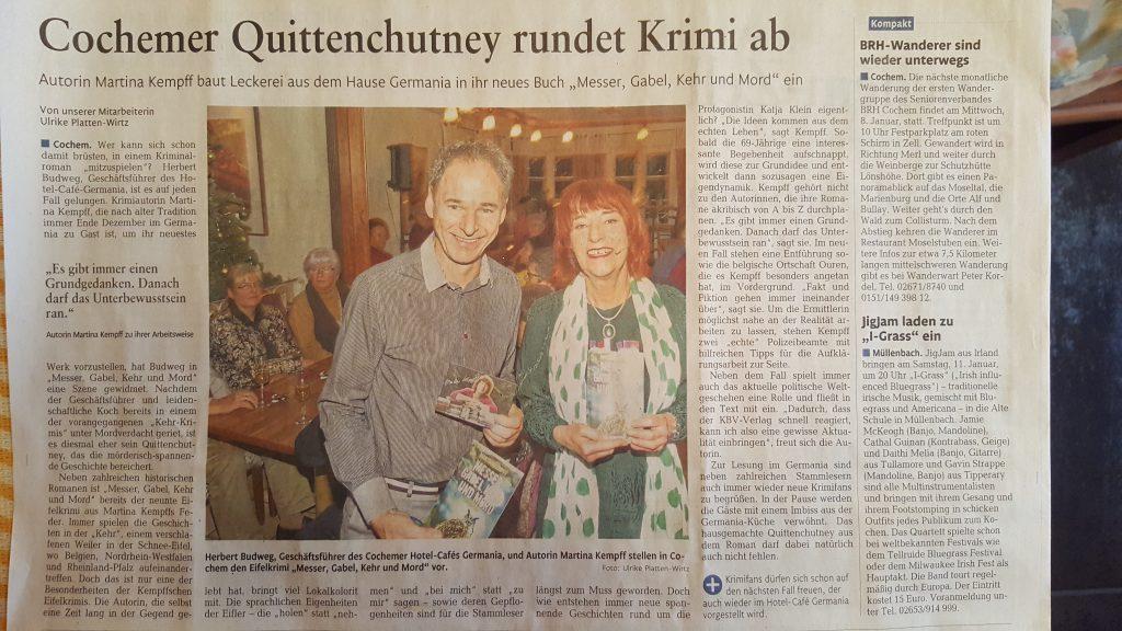 Cochemer Quittenchutney rundet Krimi ab.